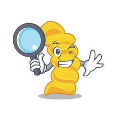 detective fusilli pasta character cartoon vector image