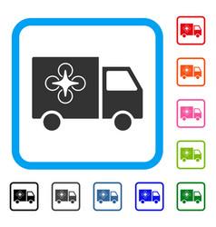 drone delivery van framed icon vector image
