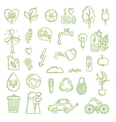 ecologic doodle green energy concept pictures vector image
