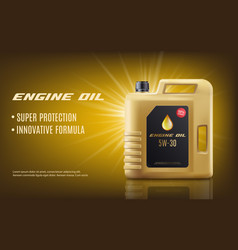 Engine oil ad poster mockup with realistic golden vector