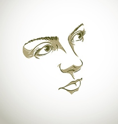 Facial expression hand-drawn of face of romantic p vector