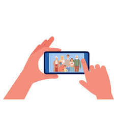 family photo hands holding smartphone with people vector image
