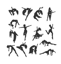 female silhouettes in dance silhouette of dancers vector image