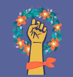 Floral symbol feminism movement woman hand vector