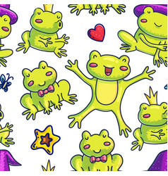 frog hand drawn seamless pattern vector image
