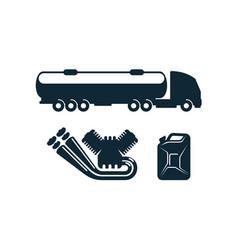 Gasoline tanker truck engine fuel canister vector