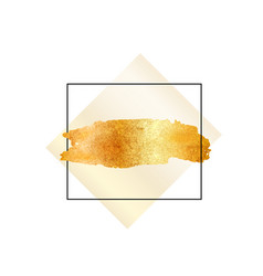 Gold glitter foil brush stroke golden vector