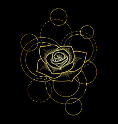 Gold rose and circles on black background vector