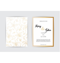golden invitation with floral elements vector image