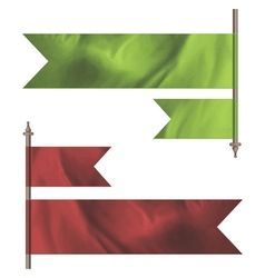 Green and red silk flags vector