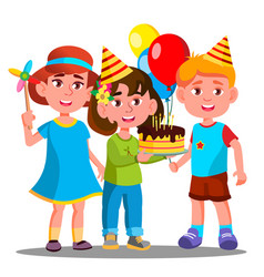 group of happy children celebrating birthday vector image