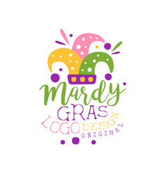Hand drawn mardi gras holiday logo template with vector