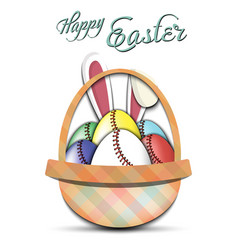 happy easter baseball balls in form eggs vector image