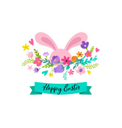 happy easter bunny with flowers design vector image