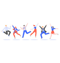 happy jumping office team smiling people jumping vector image