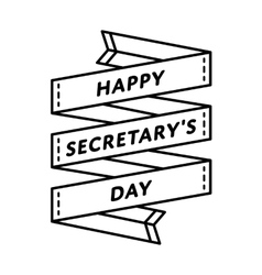 Happy Secretary day greeting emblem vector image