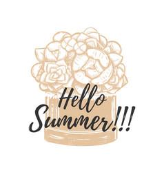 hello summer hand drawing vector image