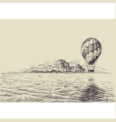 hot air balloon over sea retro style vector image