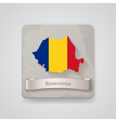 Icon of Romania map with flag vector