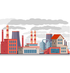 industrial pollution factory with pipes pollutes vector image