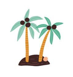 island with two coconut palm trees with growing vector image