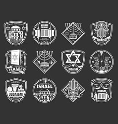 israel and judaism symbols jewish hanukkah vector image