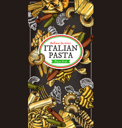italian food banner with pasta and macaroni vector image