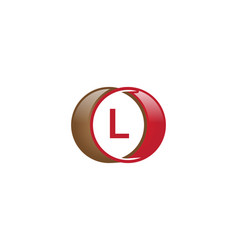 l letter circle logo vector image