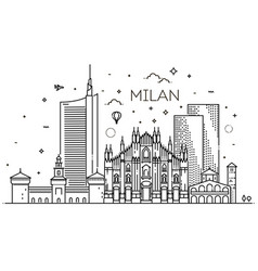 linear banner of milan city vector image