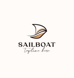 Lineart sailboat monoline logo template isolate vector