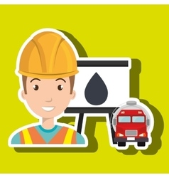 man and truck isolated icon design vector image