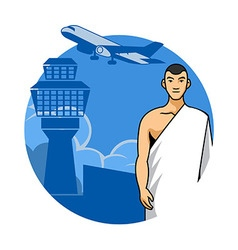Man Hajj And Airport Background vector