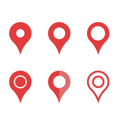 mapping pins icon set map pointer signs vector image