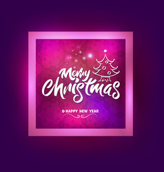 merry christmas with christmas tree lettering vector image