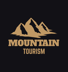 mountain tourism emblem template with rock peak vector image