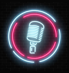 Neon signboard with microphone in round frame vector