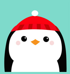 penguin head face red hat merry christmas happy vector image