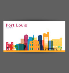 Port louis city architecture silhouette vector
