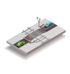 railway crossing isometric composition vector image