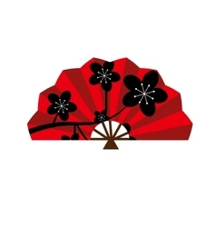 Red silk chinese fan traditional asian oriental vector