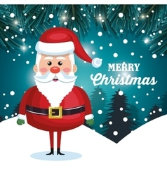 santa character christmas snowfall and pine design vector image
