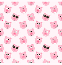 seamless pattern with cute pink pig faces vector image