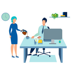 Secretary pours coffee to boss in minimalist vector