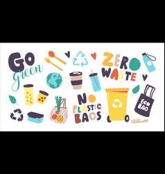 Set icons zero waste no plastic theme vector