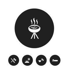 set of 5 editable camping icons includes symbols vector image