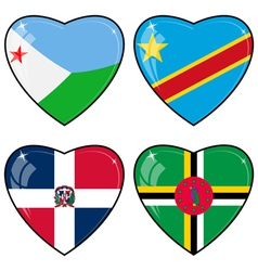 Set of images of hearts with the flags of Congo vector