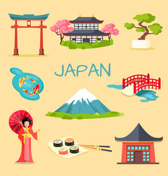 set of japanese national symbols vector image