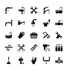 Set of plumbing glyph icons vector
