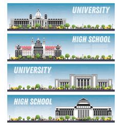Set university campus study banners vector
