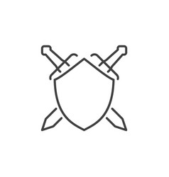 Shield and crossed swords concept linear vector
